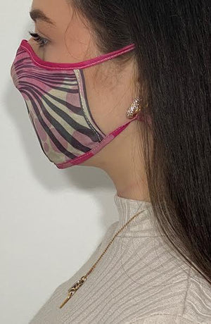 Pink Grey Retro Print Silk Fashion Face mask with filter - Thebritishmask