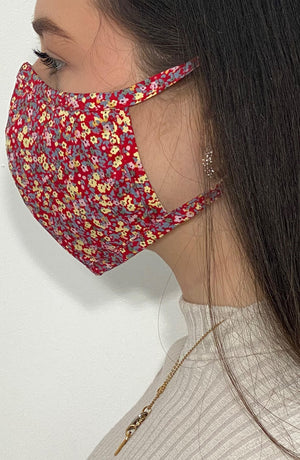 Red Floral Fitted Fashion Face mask with filter - Thebritishmask
