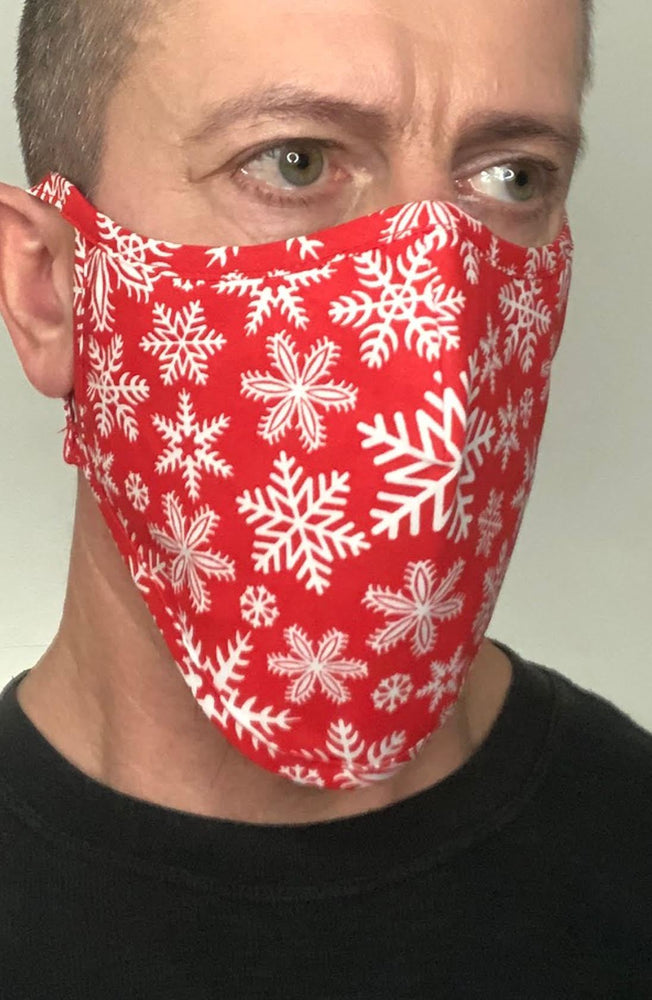 Red Snowflake Beard Longline Face mask with filter - Thebritishmask