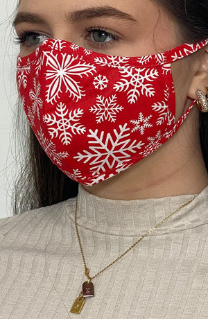Red Snowflake Fitted Fashion Face mask with filter - Thebritishmask