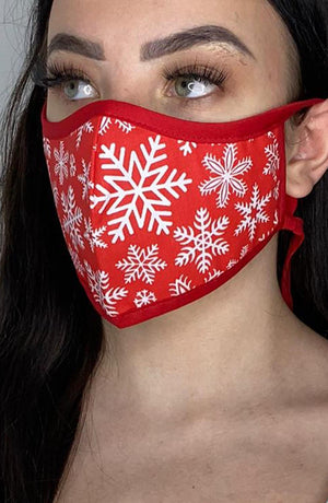 Red Snowflake with contrast Red Fitted Fashion Face mask with filter - Thebritishmask