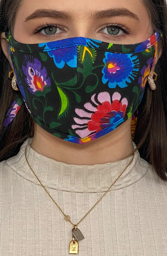 Vivid Floral Active Fashion Face mask with filter