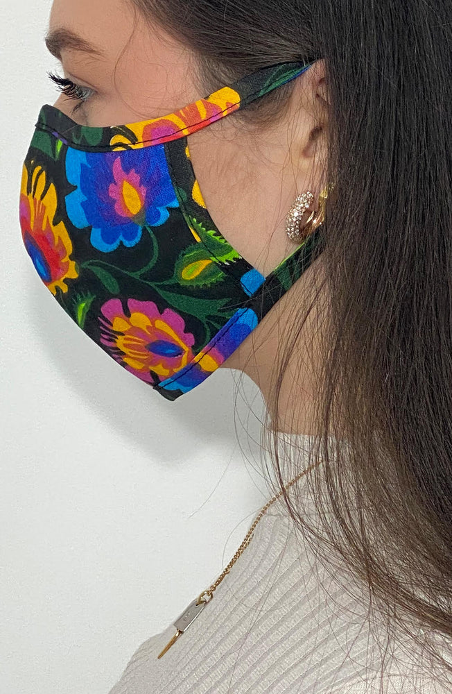 Vivid Floral fitted Fashion Face mask with filter - Thebritishmask