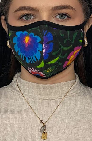 Vivid Floral with black binding active Fashion Face mask with filter - Thebritishmask
