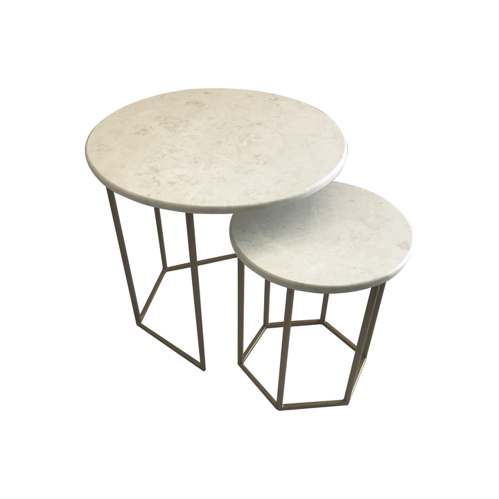 Double Marble Maria Hex Nested Table