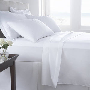 White Percale 80 / 20 Cottonpoly  T200	 Fitted Sheet (255cm)
