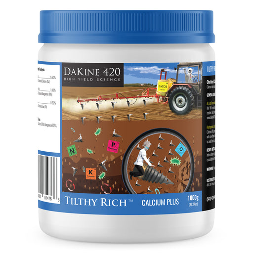 Dakine 420 Tilthy Rich™ Calcium Plus Hemp & Cannabis Fertilizer. Tilthy Rich™ Calcium-Plus hemp fertilizer combines a specially formulated blend of calcium plus zinc and manganese to benefit the soil ecosystem.