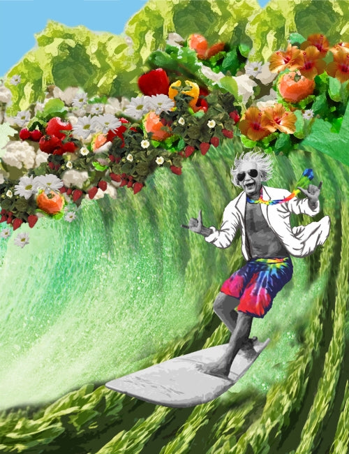 Mad Scientist Surfing the Veggies Poster