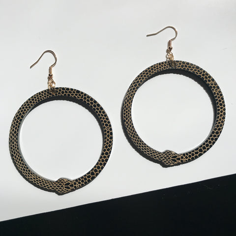 ouroboros snake hoop earrings