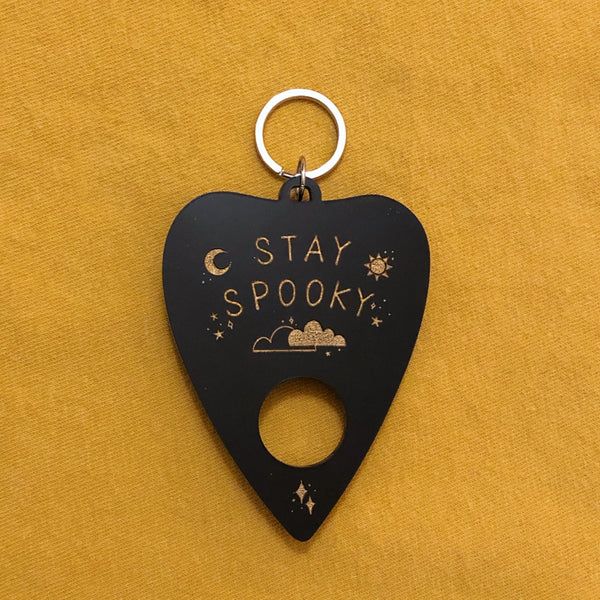 stay spooky planchette keychain