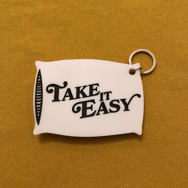 take it easy pillow keychain