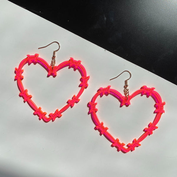 barbed wire heart hoop earrings