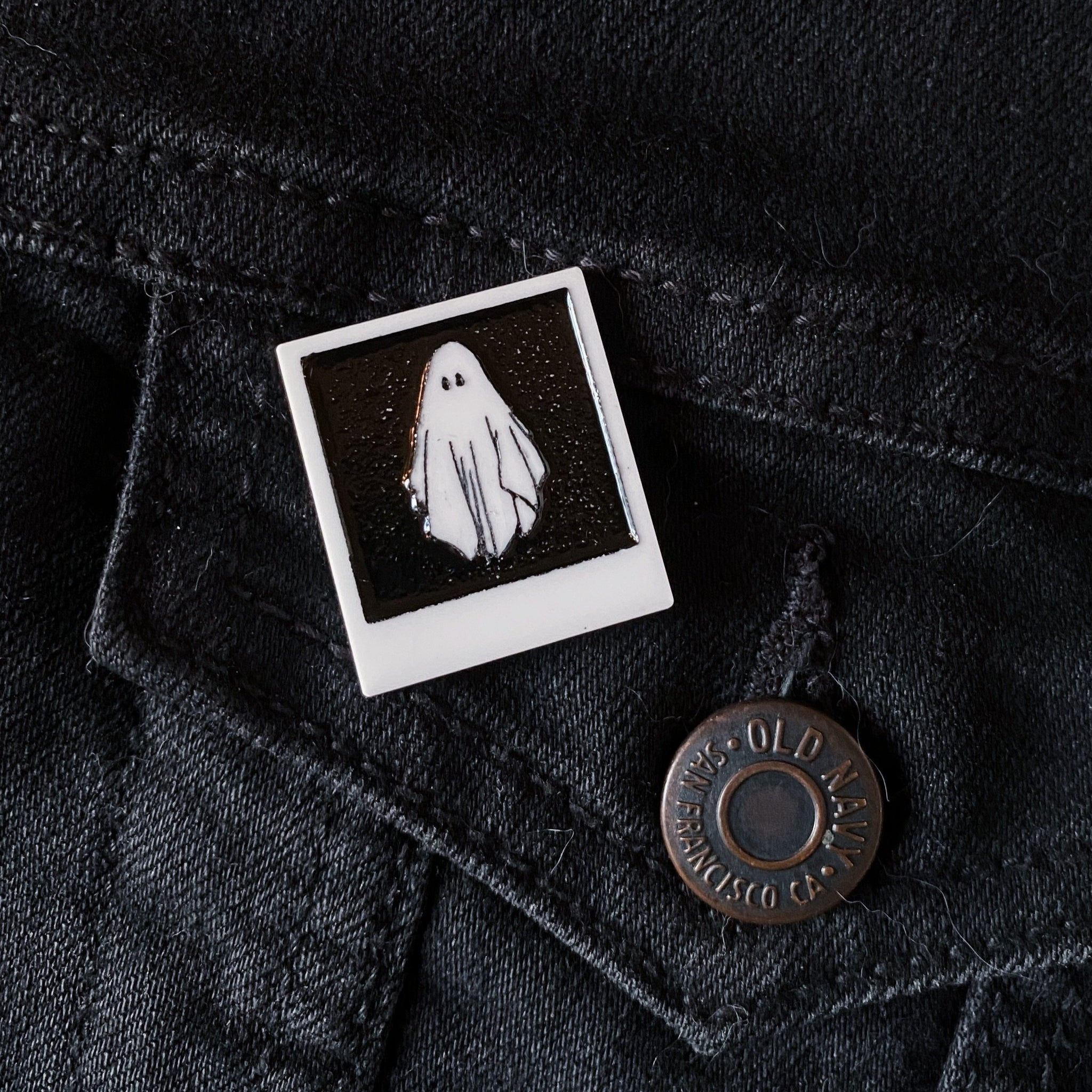 haunted polaroid pin