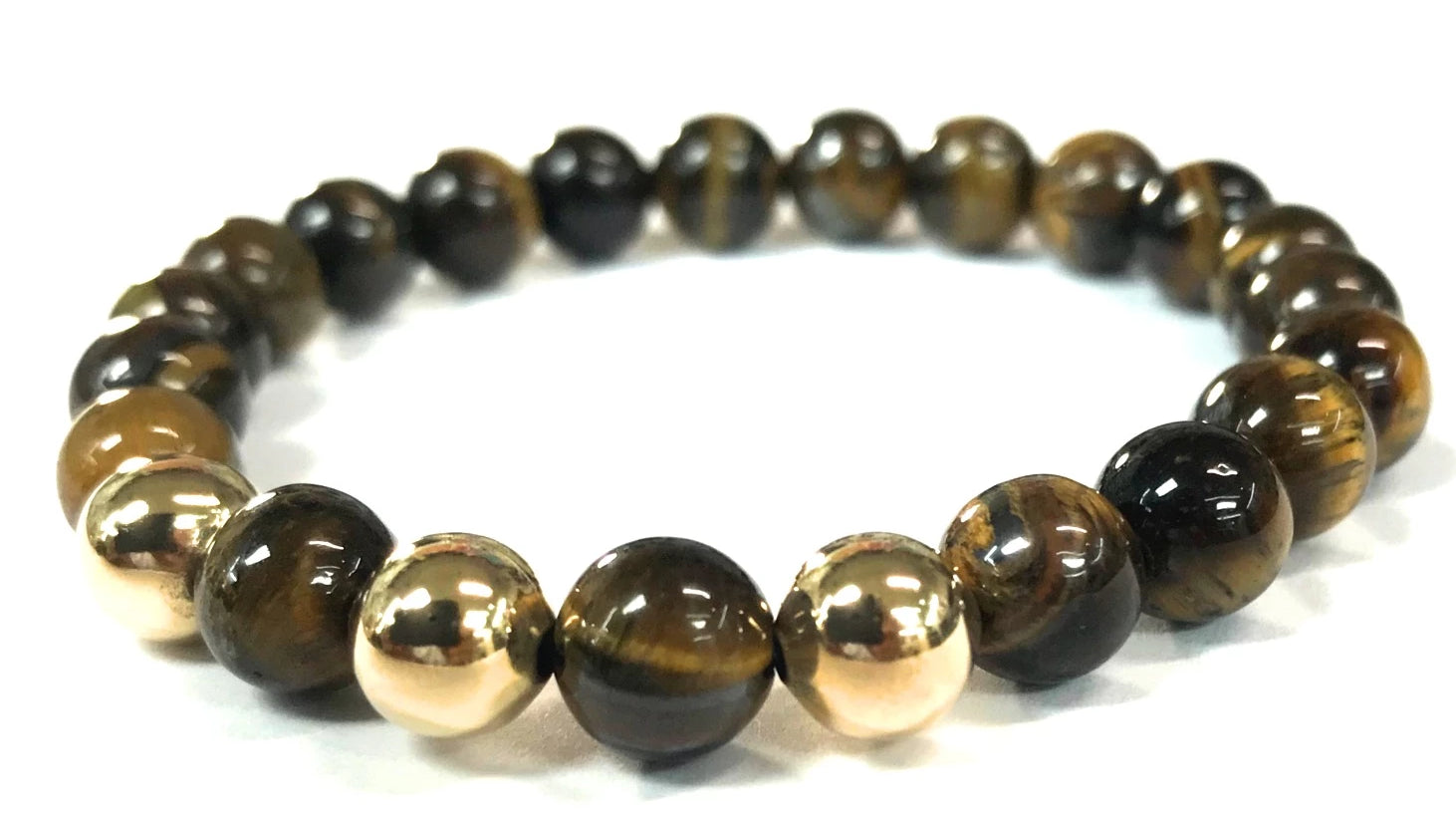 <b> 14kt Gold and Tiger Eye Bracelet</b><br><i>from 4mm to 8mm</i>