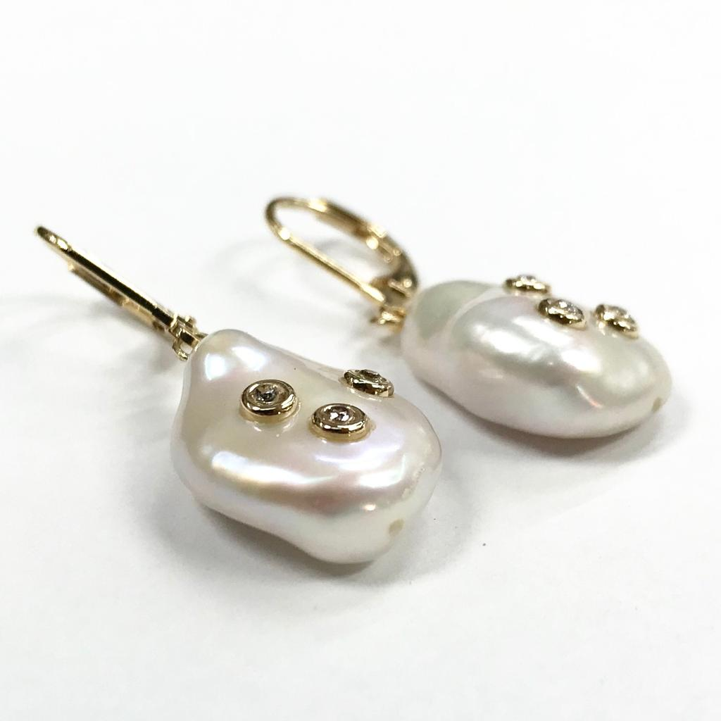 <b> 14kt Gold Filled Cultured Pearl Earrings</b><br><i>with AAA Zircon</i>