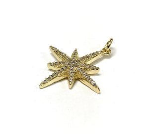 Star pendant charm with cubic zirconia 14 k gold plated maslov beads