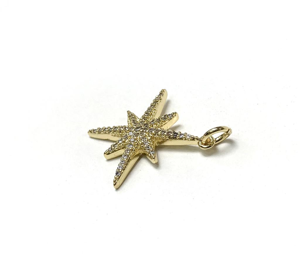 star charm 14k gold plated pendant with zircon
