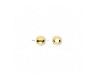 <b>Bead, Round Smooth  Gold Plated 3 mm</b><br><i> pkg 100 pcs</i>