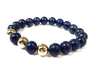 14kt gold beads and lapis lazuli bracelet unisex