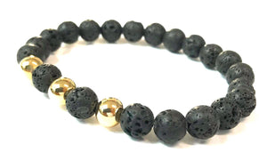 <b>14Kt Gold and Lava Rock Bracelet</b><br><i>from 4mm to 8mm</i>