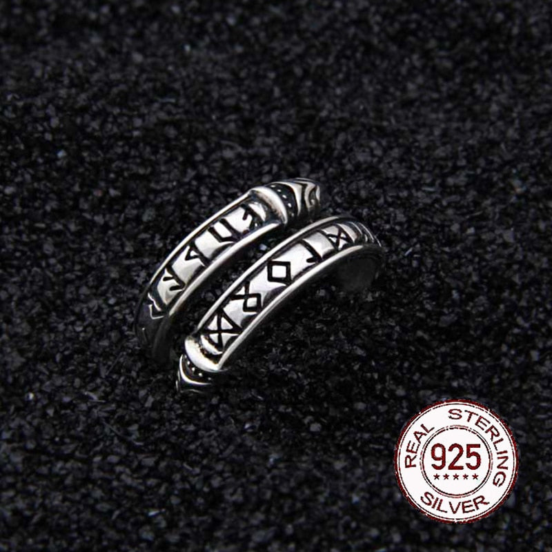 925 Sterling Silver Viking Dragon Rune Ouroboros Ring