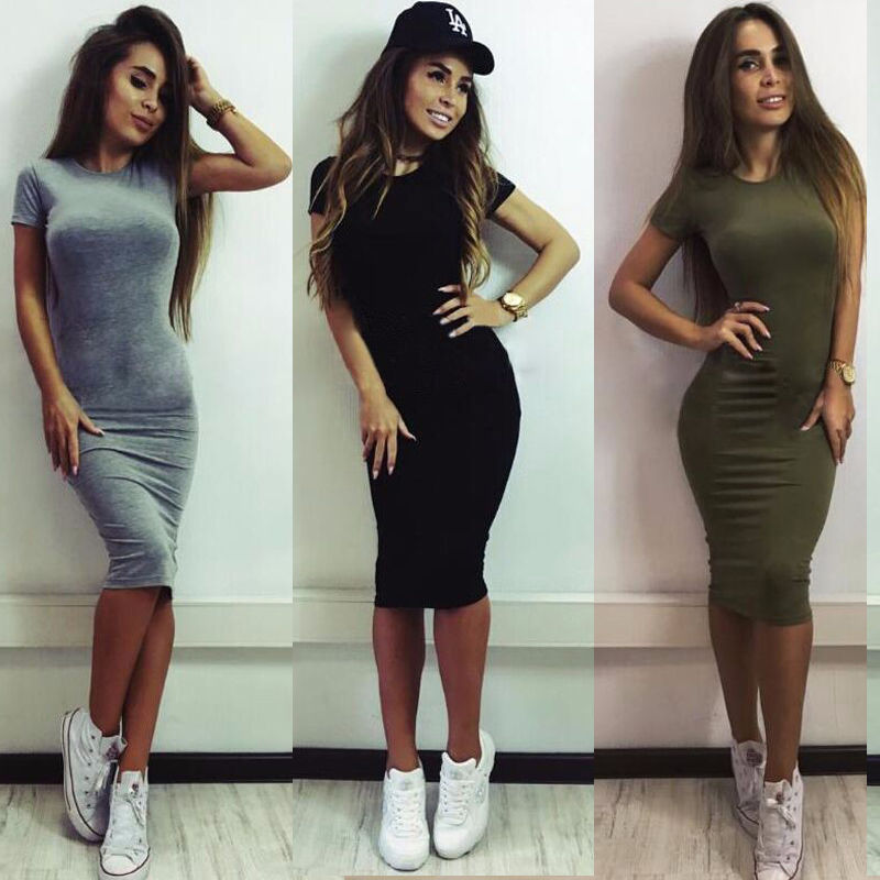 Women Clothing Short Sleeve Skinny Party Brief Dress Midi Dress SEXY Women