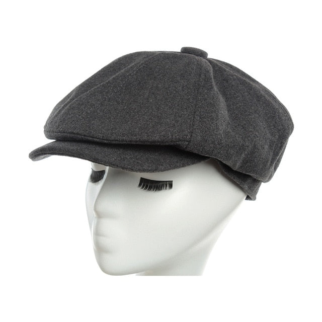 Products Wool Octagonal Cap Newsboy Beret Hat For Men's Male Dad Ivy Caps