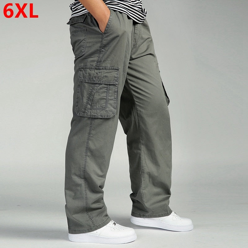 Men's casual trousers cotton overalls elastic waist full len multi-pocket