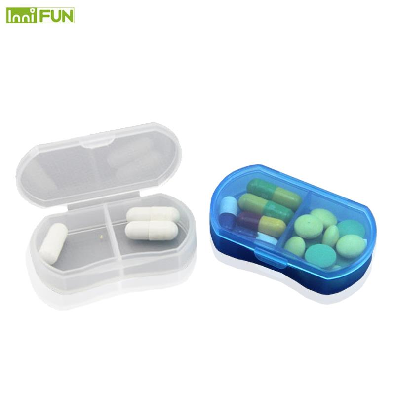 2 Grids Mini Pill Box Portable Pills Medicine Drugs Case Box Secret