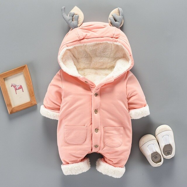 Sweat Newborn Winter Jumpsuit Animal Ear Baby Winter Clothes Kids