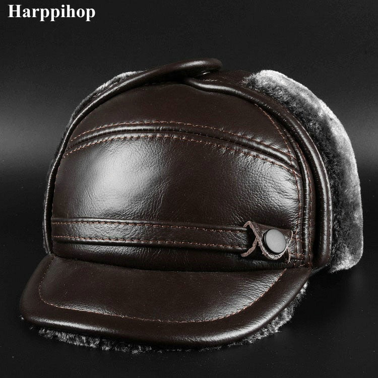 New winter leather cap men's leather cap in the elderly Leather Hat Lei