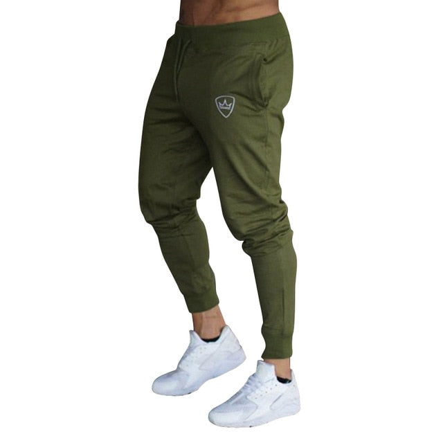 2019 Cotton Men Full Sportswear Casual Elastic Mens Fitness Workout