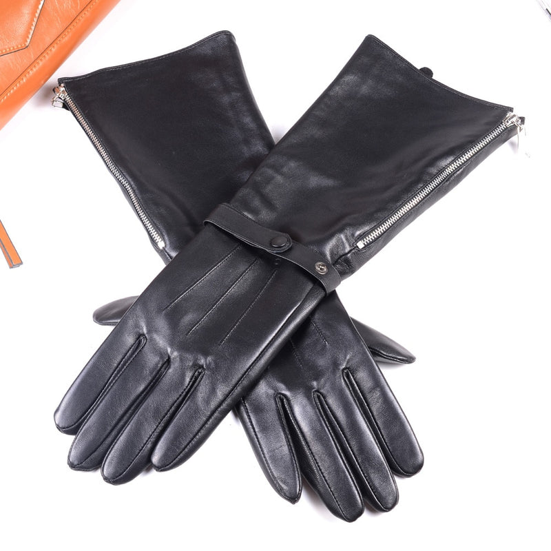 40cm Men's Black Sheepskin Real Leather Medieval Renaissance Long Cuff  Zipper Knight Gauntlet Elbow Long Gloves