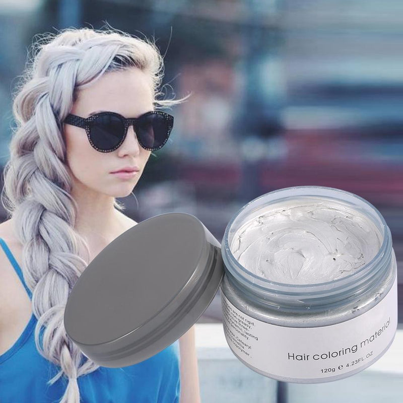 120g Hair Color Promades Wax Silver Ash Grey Strong Hold Temporary