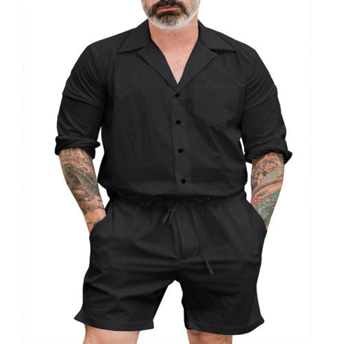 New Men Short Romper Sleeve Casual Cargo Pants Jumpsuit Siamese - Any.shopping
