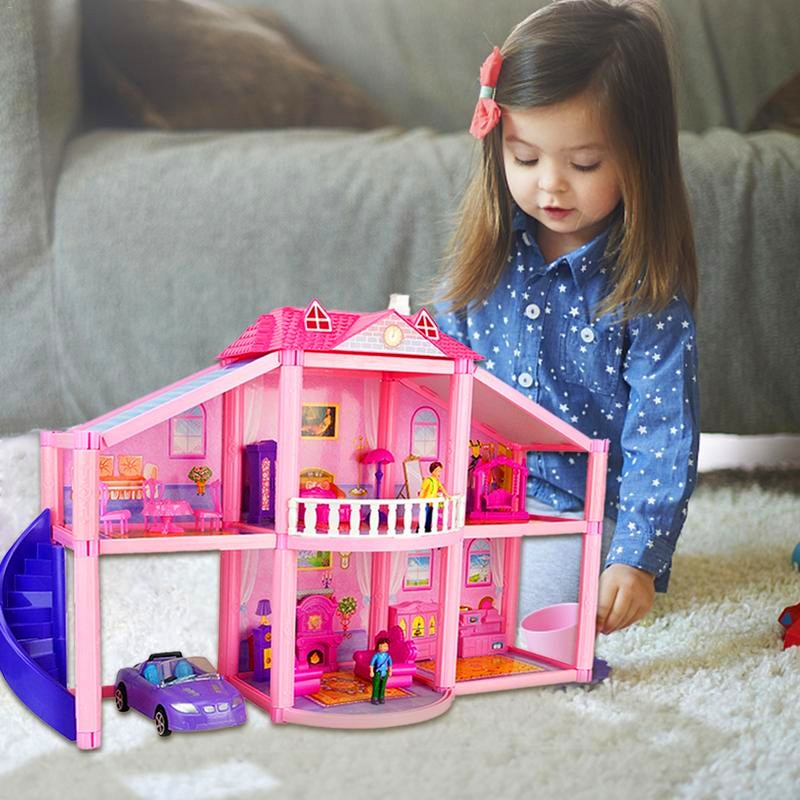 Realistic 3D Plastic Doll Houses For LOL Doll Assembled Dollhouse Two-Storey Villa Model Toy for Kids Gifts