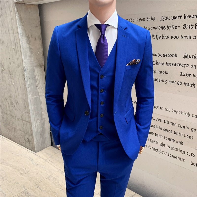 2019 new Blue Men Suit Jacket + Vest + Pant S M L XL XXL XXXL