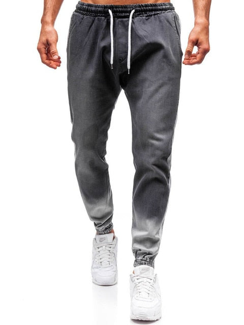Mens Jeans Fashionable Casual denim Sports Personalized Wash Joggers  yoga pants
