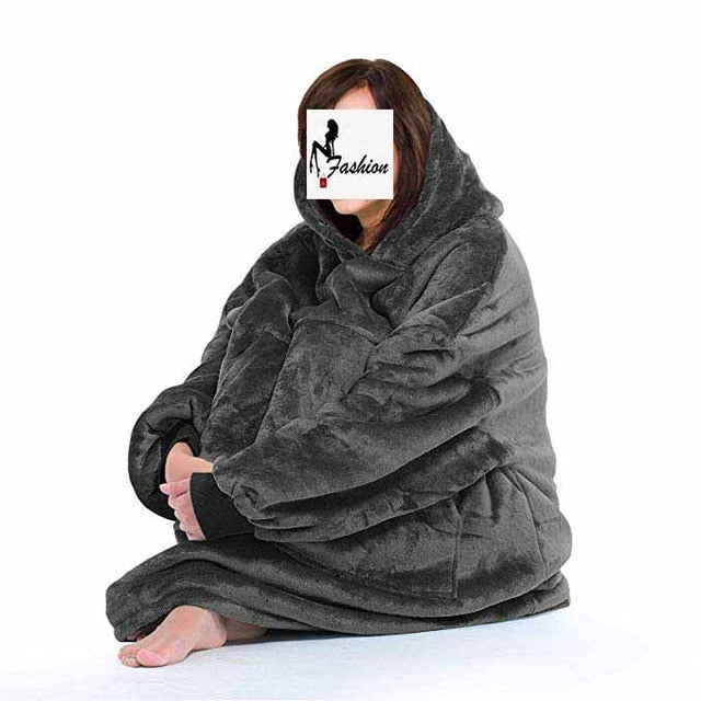 Fleece Oversized Hoodie Women Blanket with Sleeves Warm Women