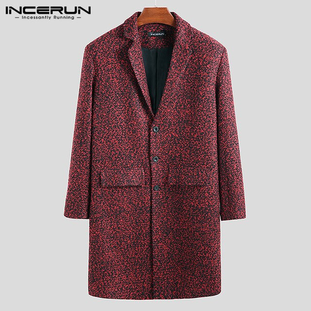INCERUN Men Long Sleeve Solid Color WindProof Woolen Long Coats - Any.shopping