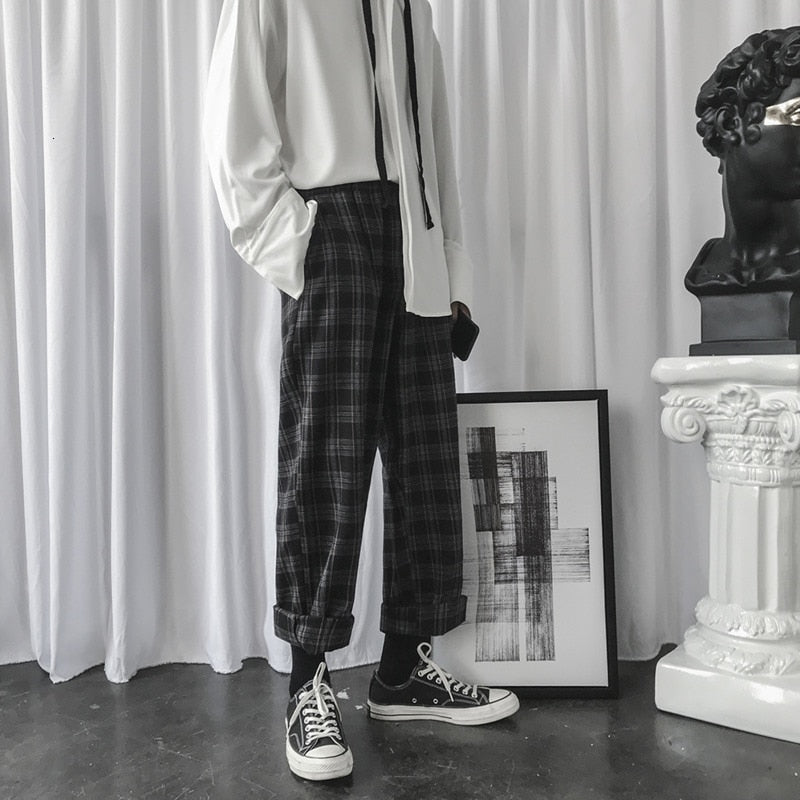 Winter Woolen Pants Men Fashion Retro Casual Plaid Trousers Man - Any.shopping
