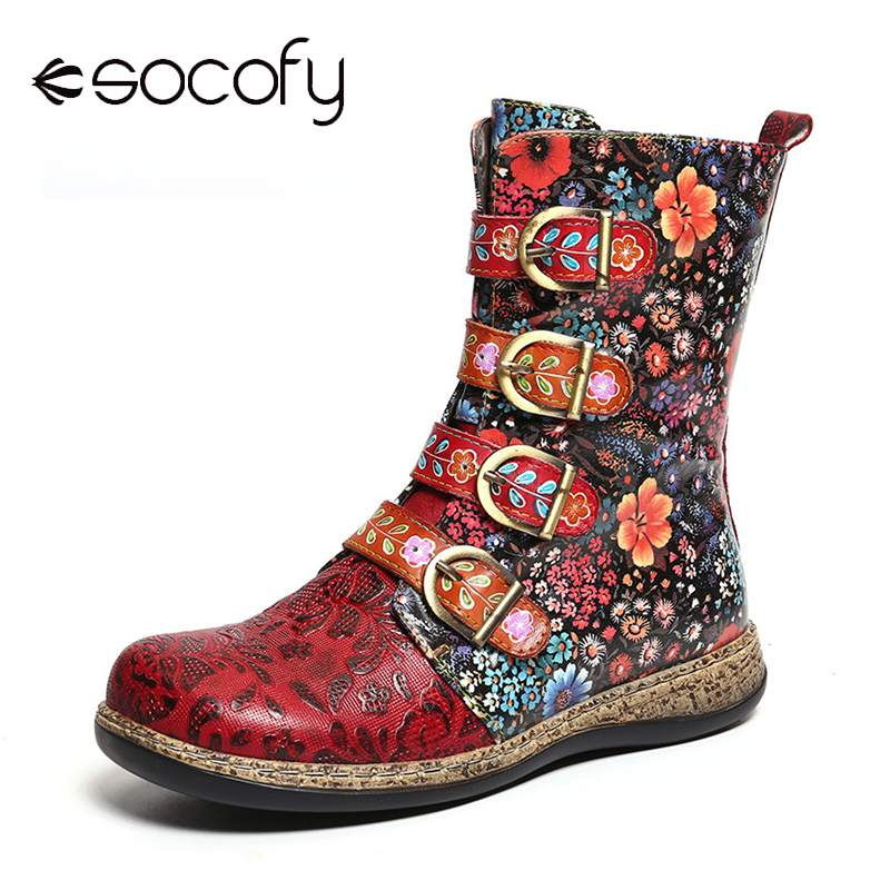 Socofy Women Boots Retro Printed Metal Buckle Genuine Leather