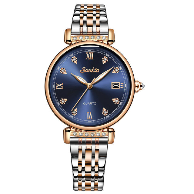 2020 SUNKTA NEW Rose Gold Women Watches Ladies Fashion Simple