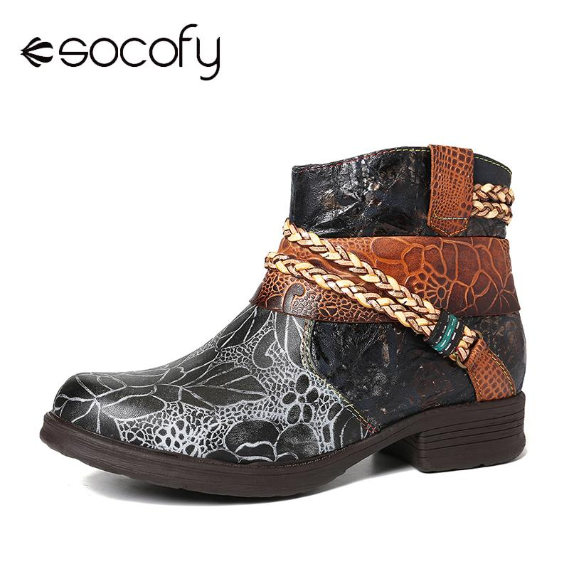 SOCOFY Genuine Leather Woven Rope Embossed  Soft Flat Ankle Boots Elegent Ladies Women Shoes Botas Mujer 2020 Winter Boots