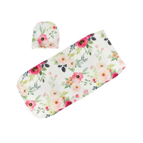 2Pcs/Set Baby Boy Girls Floral Stretch Sleeping Swaddle Blanket Hat