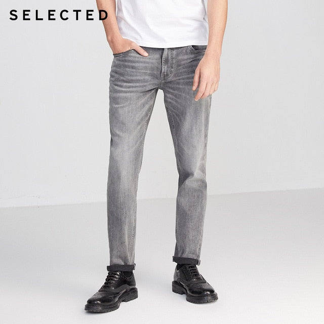 SELECTED Men Slim Fit Stretch Casual Denim Pants Cotton Three-color