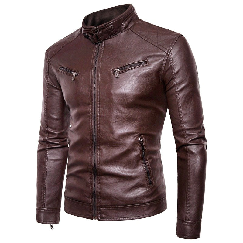 Men Leather Jacket Autumn New Motorcycle Causal Vintage Brand - Any.shopping