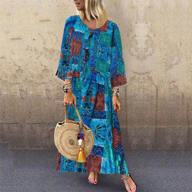 Print Loose Casual Dress 2019 New Women Long Sleeve Dress Maxi Fashion Long Evening Party Beach Dress Sundress Plus Size Hot