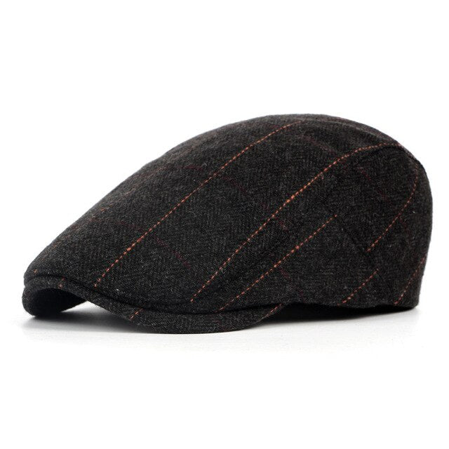 Winter Hat Men's Casual Fashion Cotton Berets Outdoor Checkered