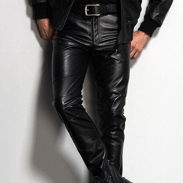 Genuine Leather Cow Mens 2020 New Straight Pants Motorcycle Biker